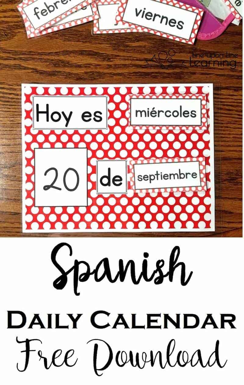 Get the free Spanish daily calendar page to practice Spanish basics in your class or homeschool.