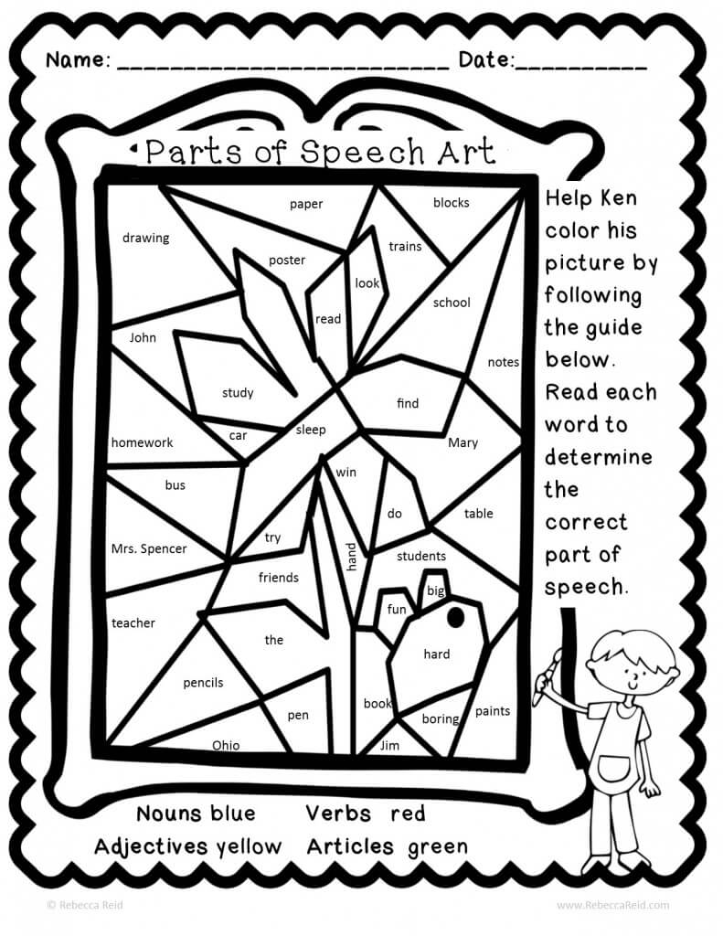 Free Coloring Pages Of Parts Of Speech