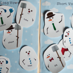 Snowman Winter Ideas and Vowels Sort Freebie