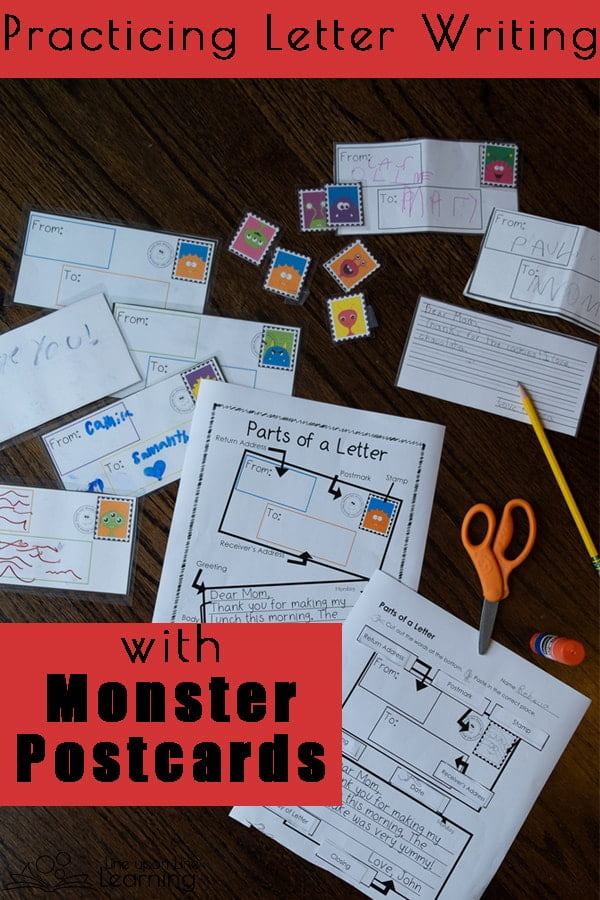 Make letter writing practice fun by writing monster postcards to family and friends. Use these templates in your classroom or homeschool and practice labeling the parts of a letter and addressing a letter.