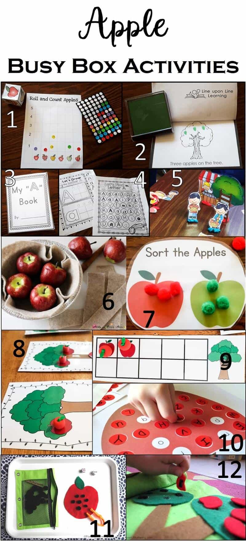 These take-along simple activities provide educational and entertaining apple activities just perfect for our autumn busy box.
