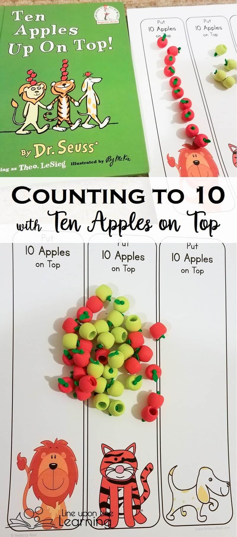 I love the silly picture book Ten Apples on Top! Now we can practice counting to ten with mini-apple manipulatives and this free print out.