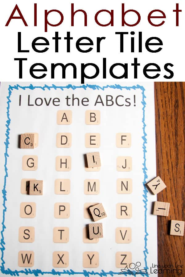 Matching abc letter tiles to a template is a great fine motor practice activity and also a great early literacy activity for early reading and spelling.