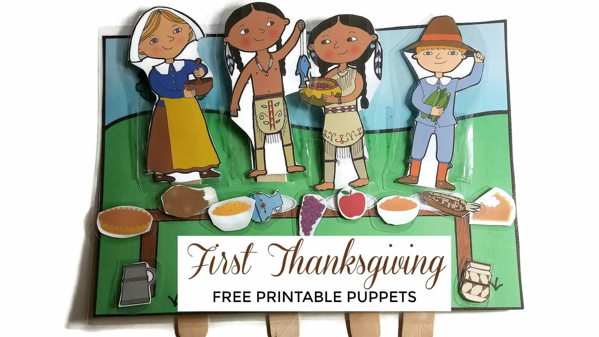 Retell the story of the first Thanksgiving with these first Thanksgiving puppets of Pilgrim and Indian (Wampanoag) Children.