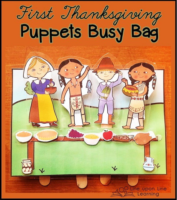 pilgrims puppets1 The First Thanksgiving Puppets Busy Bag  | Line upon Line Learning