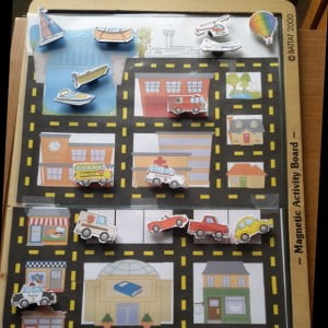 Vehicle Town Magnets Busy Bag {Workbox Wednesday}
