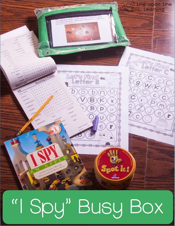 Set up a busy box to search for letters or words, and make a rice bag I spy activity bag.