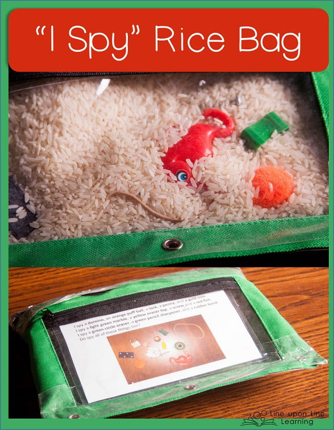 "Use rice and old toys or trinkets to make an ""I Spy"" bag! Perfect for waiting rooms and quiet time."
