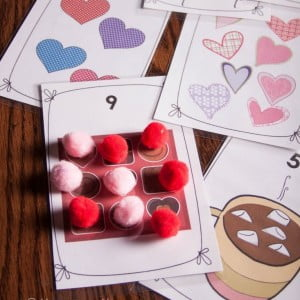 Free Valentine's Day Preschool Counting Cards Printable