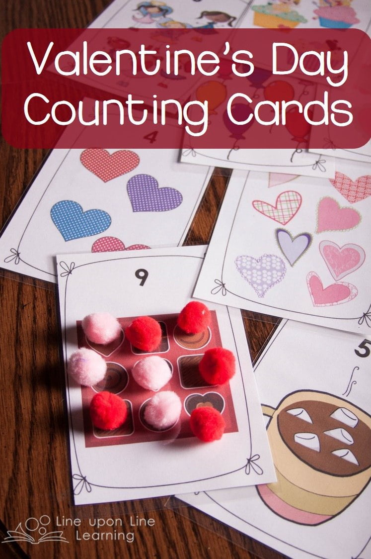 Get these free Valentine's Day themed counting cards for preschool fun. Great for one-on-one correspondence practice.