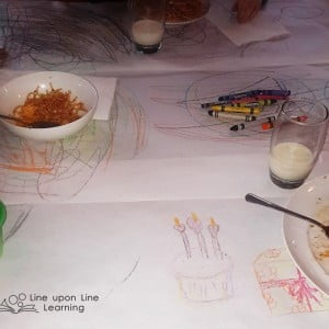 Dinner is Art Class with a Scribble Tablecloth