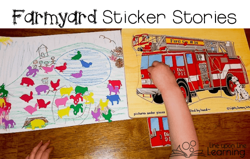 We told each other our favorite farmyard stories by drawing a simple picture and adding stickers!