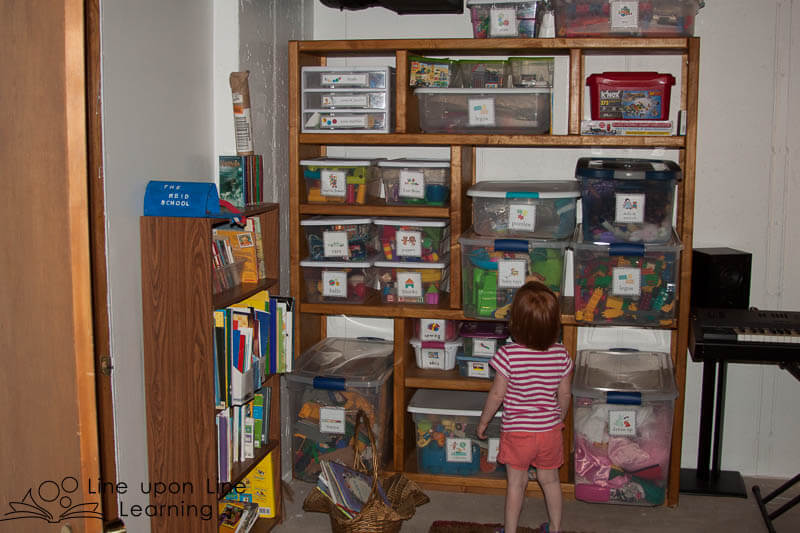 A bookshelf provides the most current reads, and the toy shelves provide an organized spot for my daughter to find what she wants next!