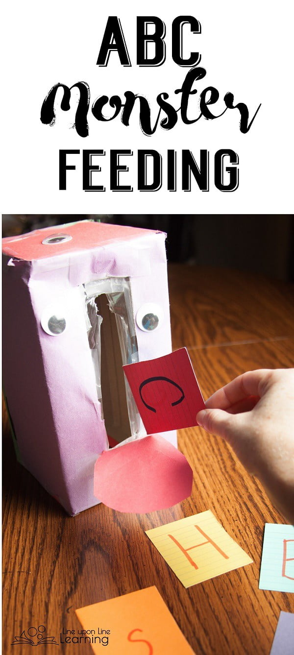 """I upcycled an empty tissue box into a simple monster that is always """"hungry"""" for more letters!"""