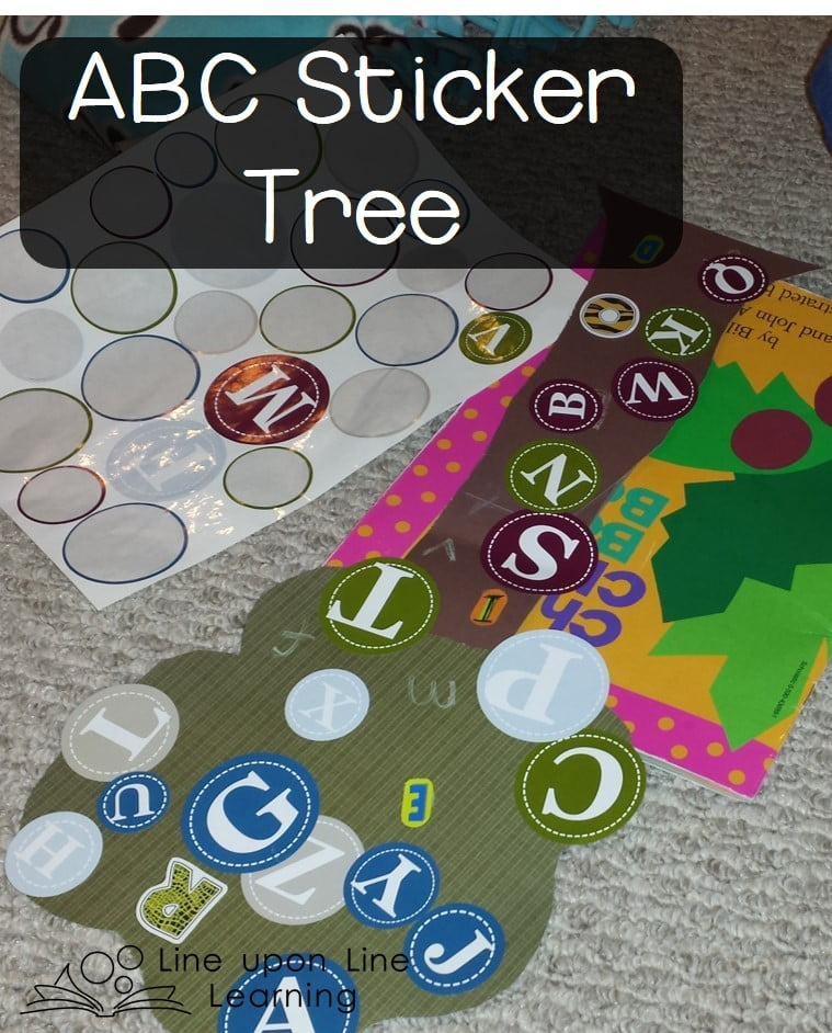ABC Stickers + colored paper = sticker tree fun!