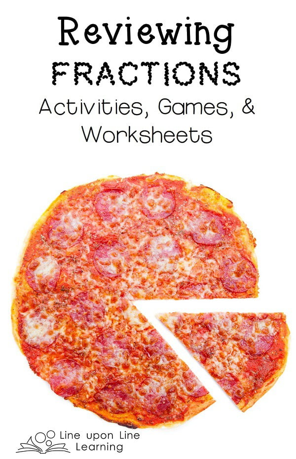 Reviewing Fractions Line upon Line Learning – Pizza Fractions Worksheet