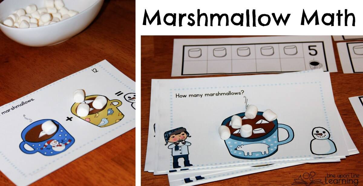 This marshmallow math activity lets kids practice counting or addition. Really, playing with marshmallows for math practice can be adapted for all ages!