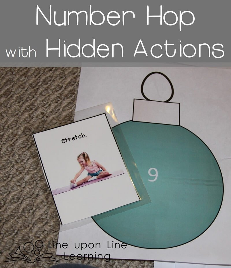 Christmas tree number hop with actions hidden under each ornament!