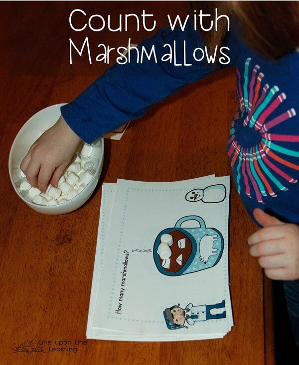 Marshmallow Counting. My daughter loved counting the marshmallows on each card...and then she could eat the real marshmallows! Free printable on this post. -Line upon Line Learning blog