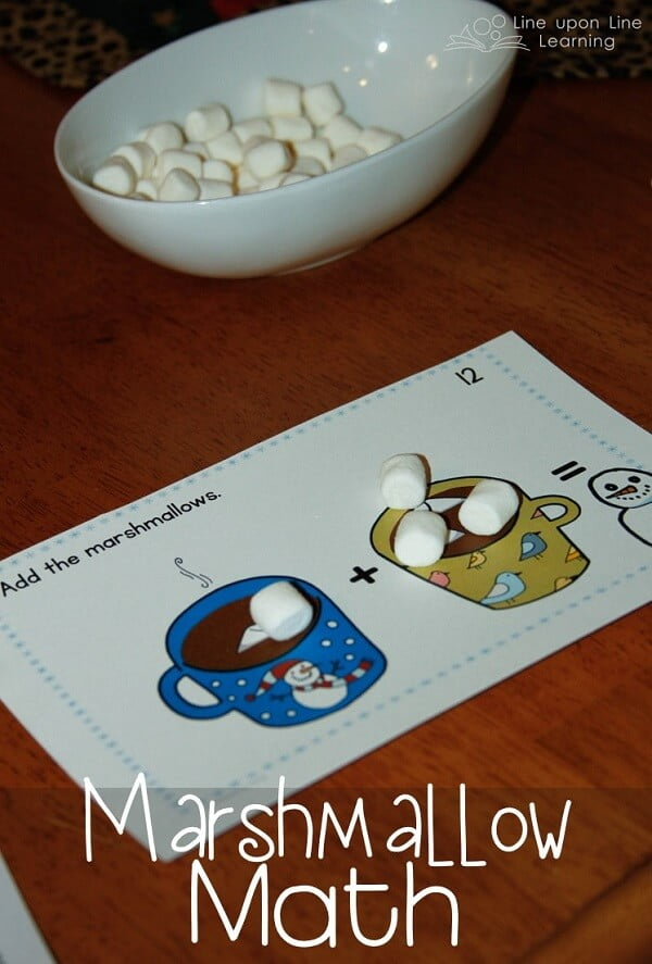 Marshmallow Math. We made addition and basic numeracy more fun with marshmallows as manipulatives. Free printable on this blog post. -Line upon Line Learning blog