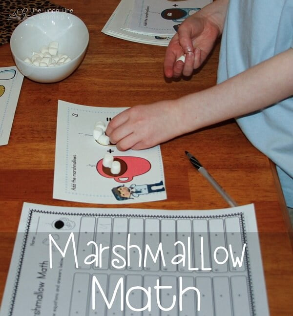 Marshmallow Math. We made addition and basic numeracy more fun with marshmallows as manipulatives. Free printable on this post. -Line upon Line Learning blog