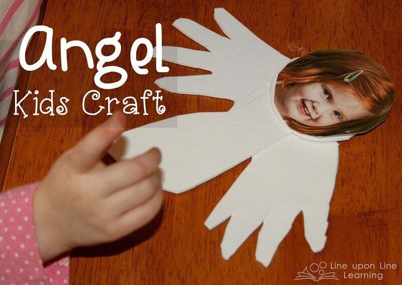 This angel kids craft uses a child's hands and foot to form the wings and body, and a personal photo of the child's face makes it personal.