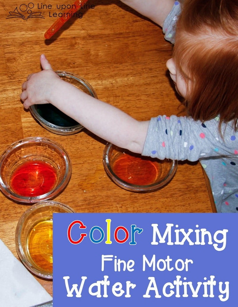 Mixing colored water using a dropper provided fine motor practice as well as basic color mixing fun!