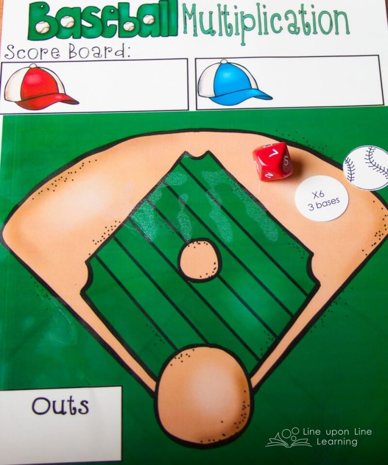 Ah, it's fun to play baseball at the kitchen table when it really is multiplication practice!