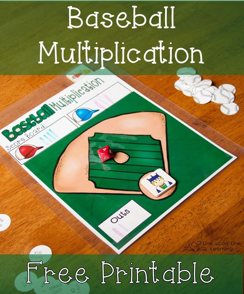 picture about Multiplication Game Printable titled Baseball Multiplication Recreation with 10-Sided Cube Line on