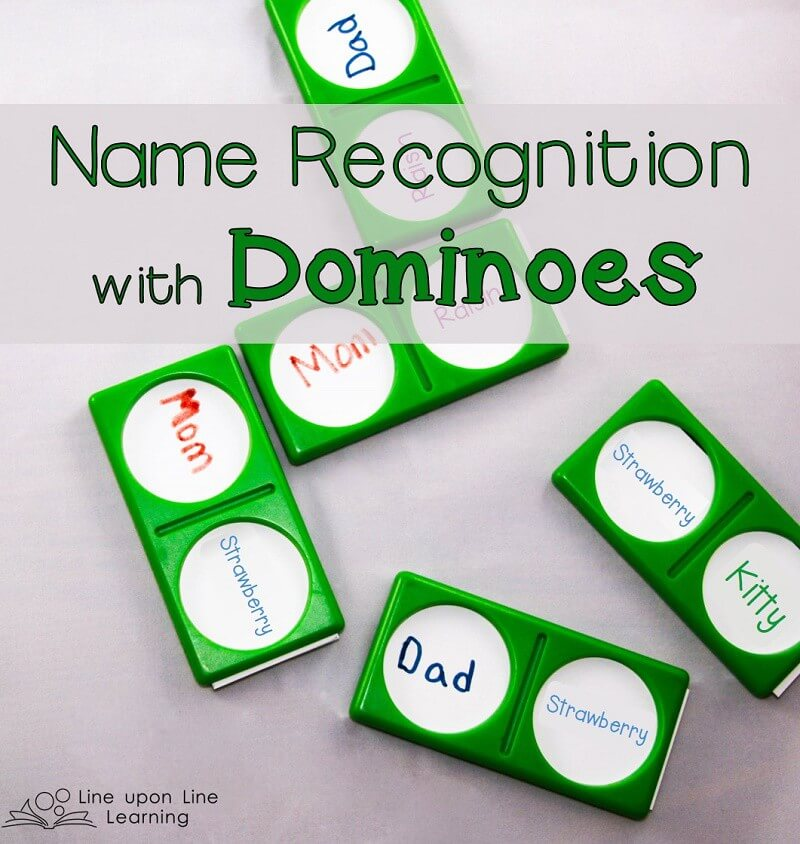 My daughter loved making a train with the names of those in her family! Name recognition dominoes was a fun twist on name recognition practice.
