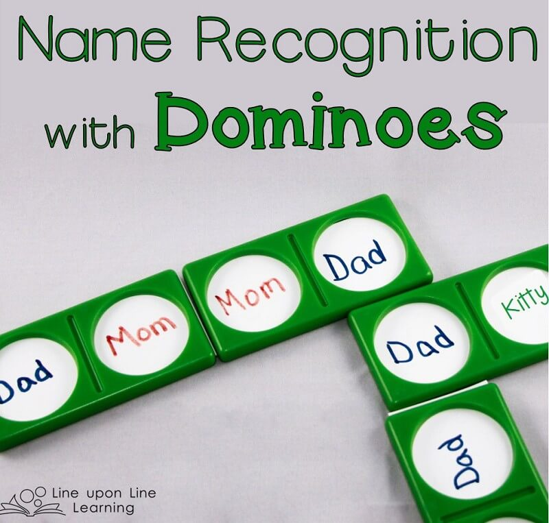 We practiced name recognition with dominoes! (The green frames are from the LeapFrog dominoes set.)