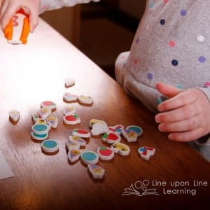 Small Eraser Sort with Tweezers Fine Motor Activity