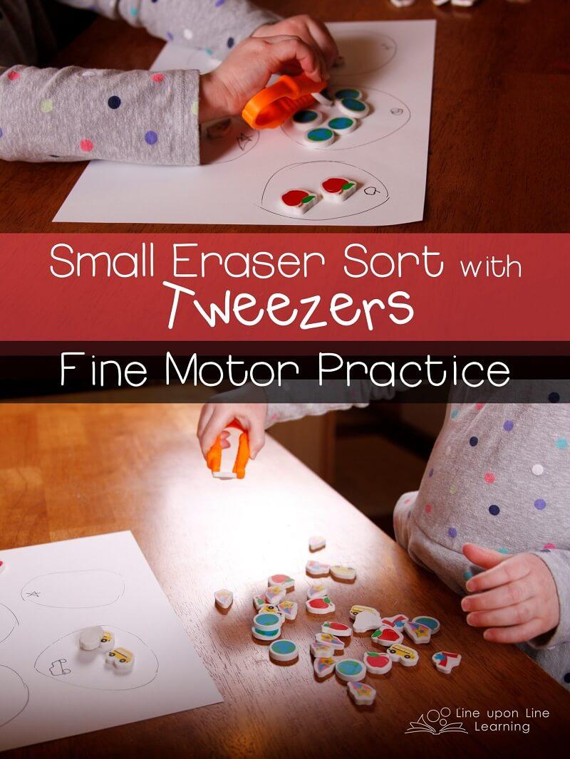 My preschooler got good fine motor skills practice as she used tweezers to count and sort small erasers.