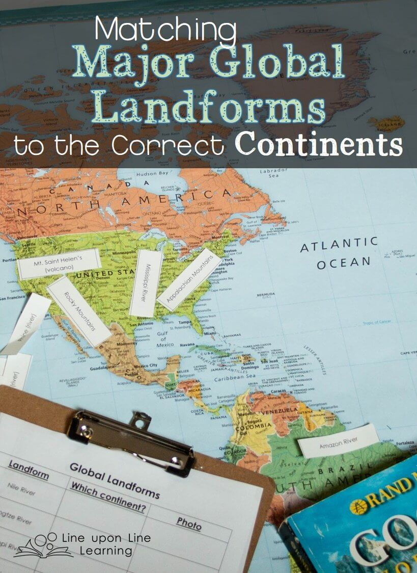 Workbooks landform matching worksheets : Matching Global Landforms to Continents – Line upon Line Learning
