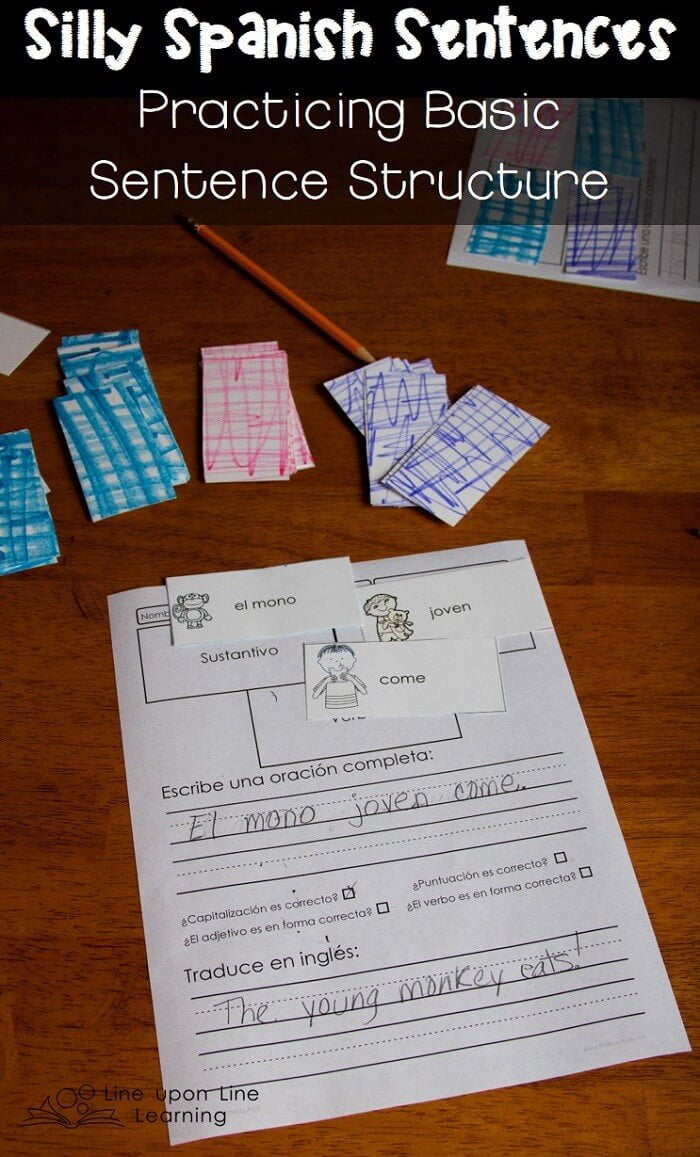 """We select three vocabulary cards (noun, adjective, and verb) and put them together in a """"silly"""" Spanish sentence."""