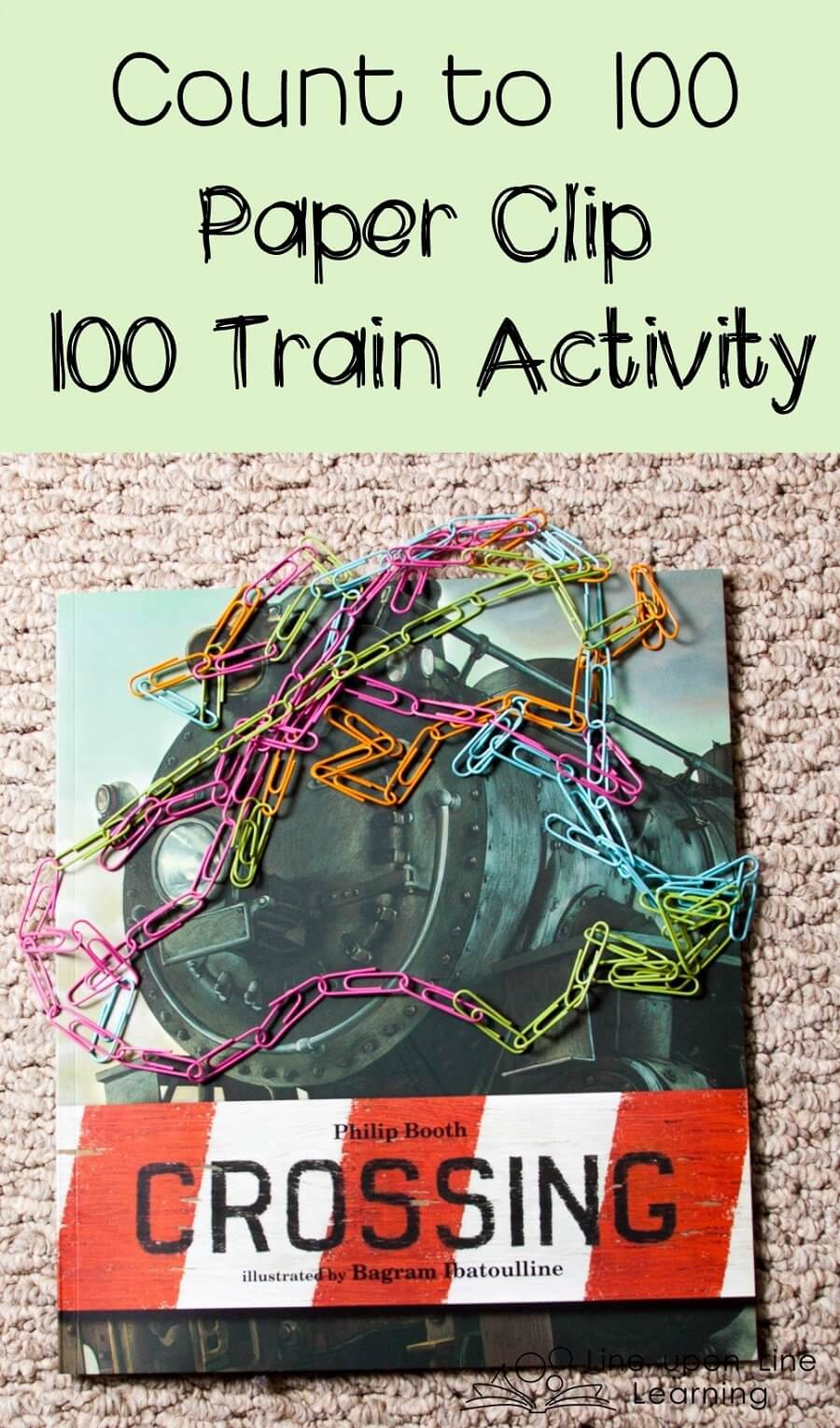 To better understand the concept of 100, we read Crossing and then made our own paper clip 100 train.