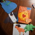 After counting all the hearts in the animals in My Heart is Like a Zoo, we had to try our hand at making our own heart animals. Strawberry also made her own blue shape monster.