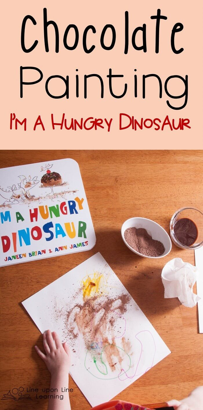 With cocoa powder and chocolate, we made our own cake illustrations like those in the fun picture book I'm a Hungry Dinosaur.