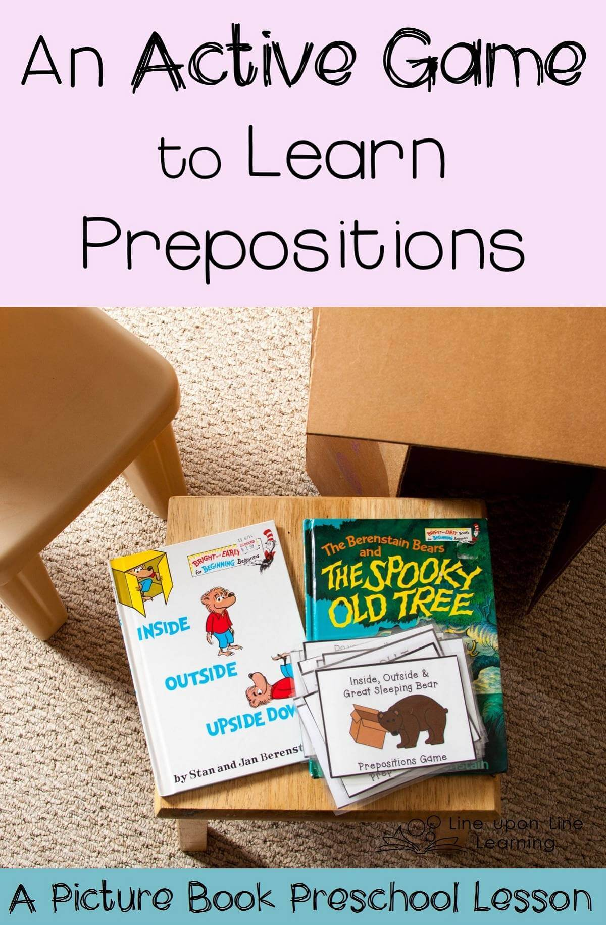 Prepositions are so much fun! Just like the bears in some favorite books, we like to go inside, outside, over, through and around!