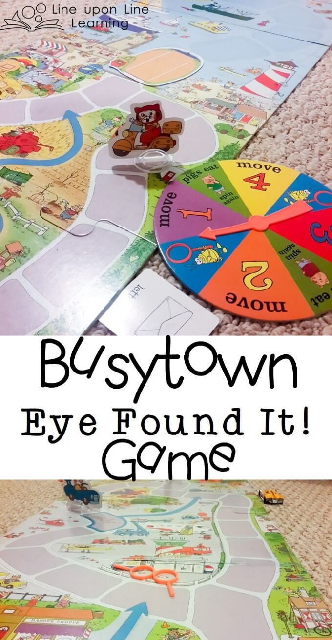 The Busytown game is a team game. We all win together as we find hidden details in the town and race to our picnic.