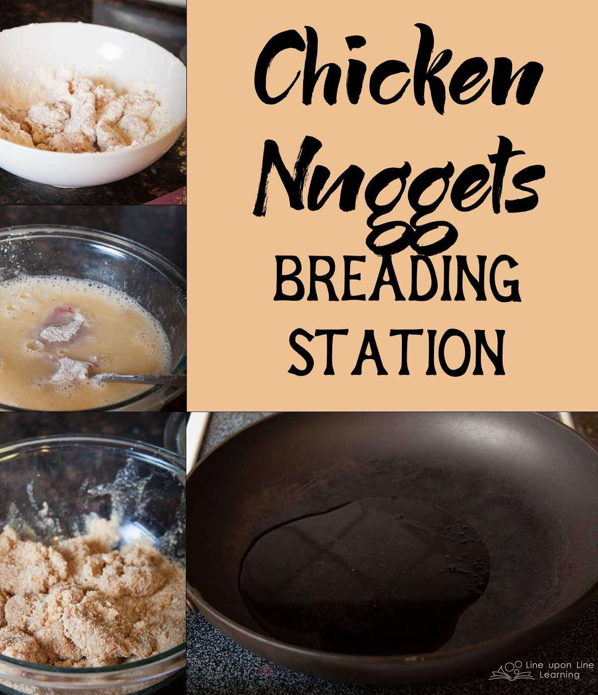 The best breading for chicken nuggets: start with flour, then eggs, then bread crumbs. Finally, fry briefly in oil.