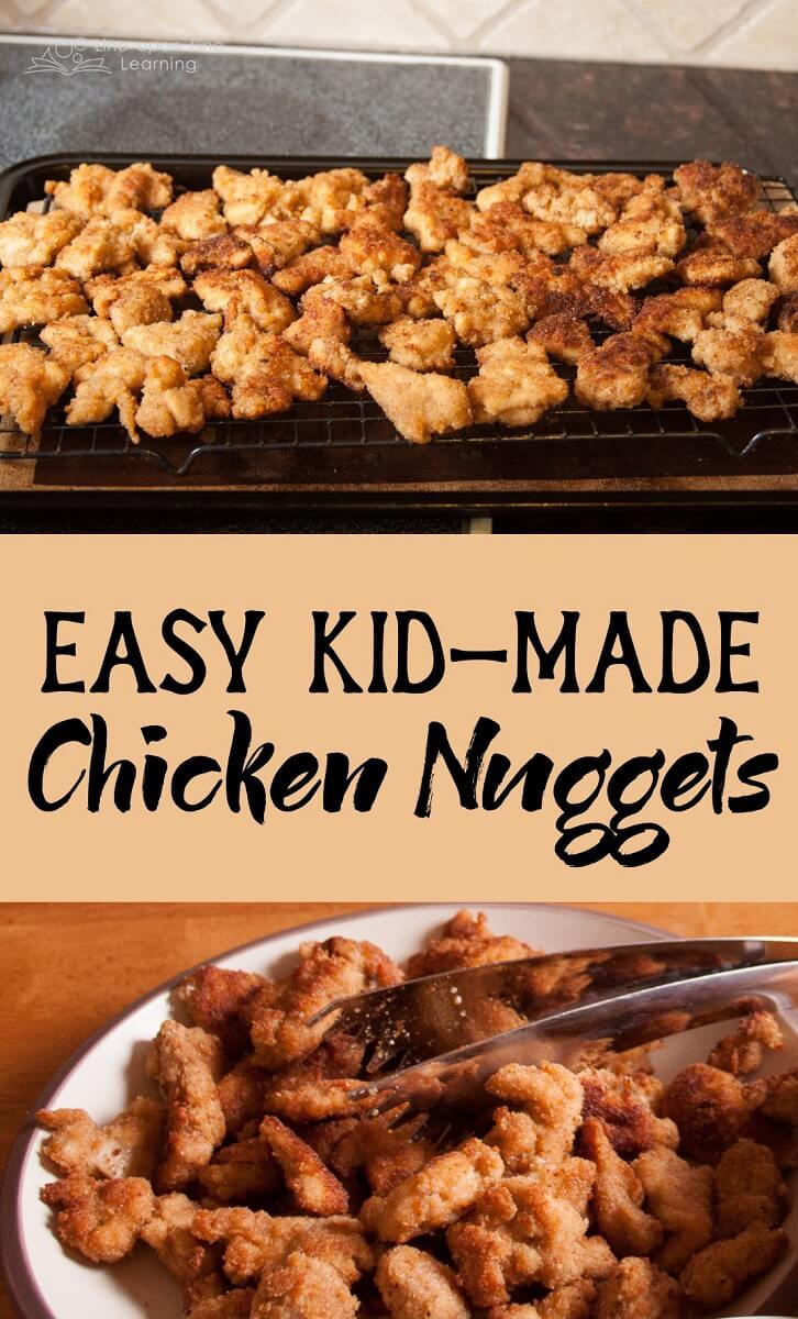 Chicken Nuggets are super easy to make, and the kids love getting messy as they help with dredging the chicken bits in flour, eggs, and bread crumbs.