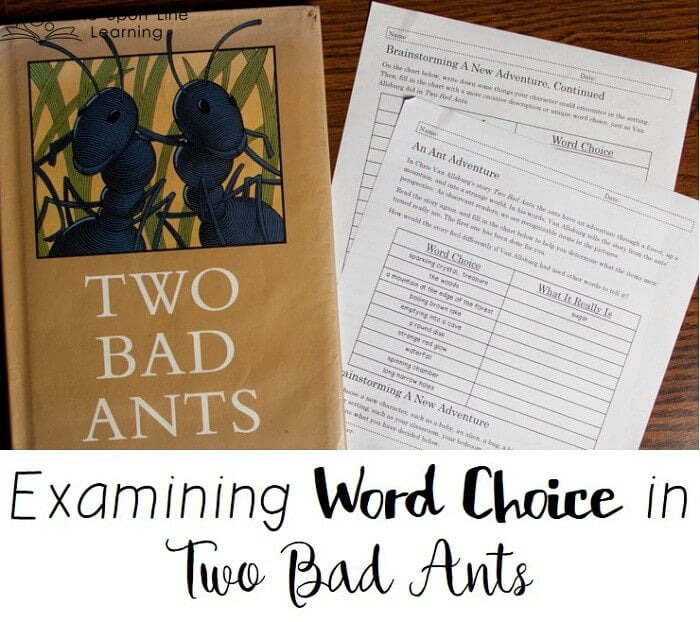 Two Bad Ants is an example of creative word choice to describe a scene. The creative writing prompt encourages students to consider creative word choice in their own unique perspective scene.