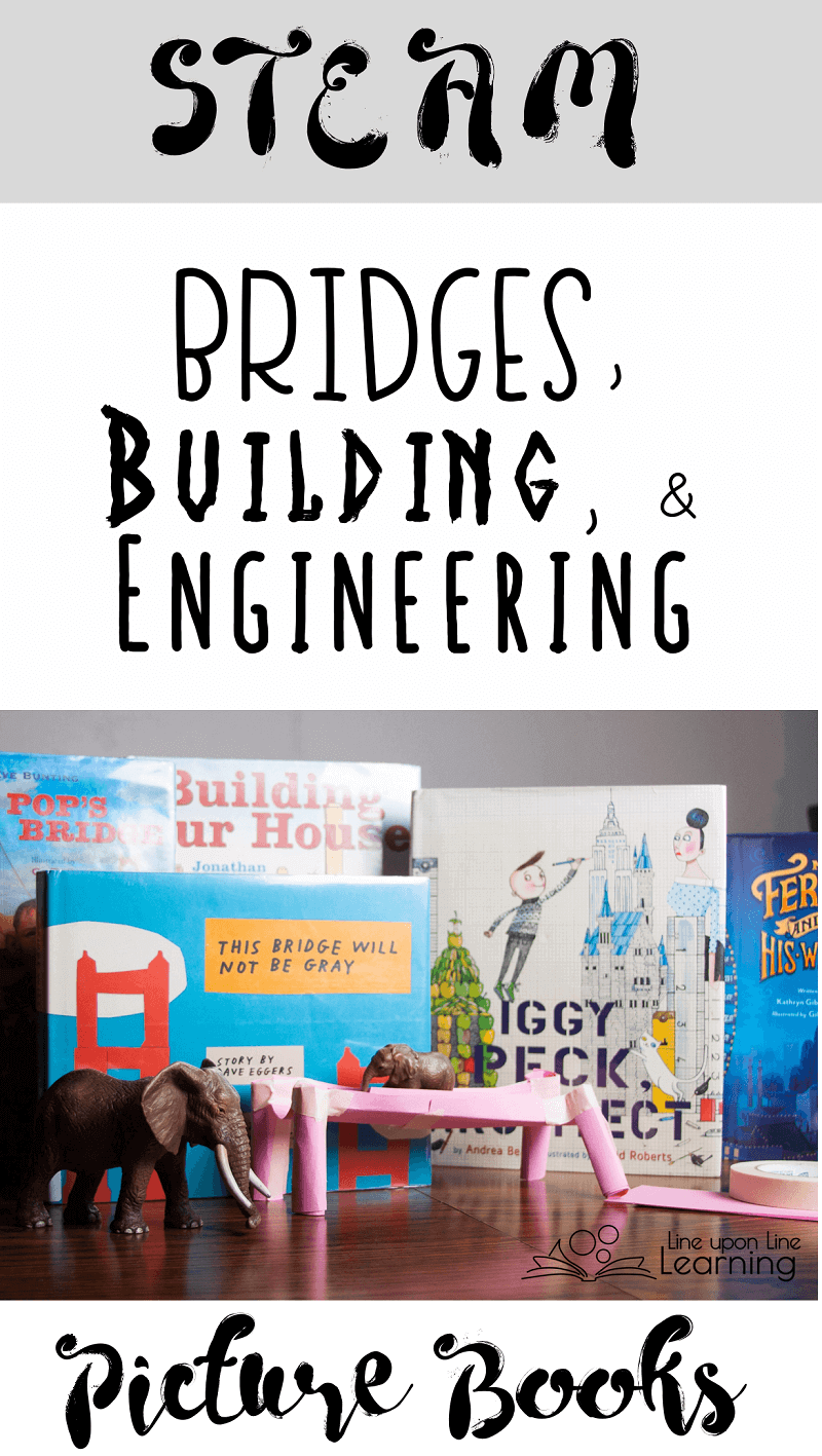 """For STEAM class, a list with 20+ books about bridges, building, and engineering, to go along with our """"build a bridge for an elephant"""" project!"""