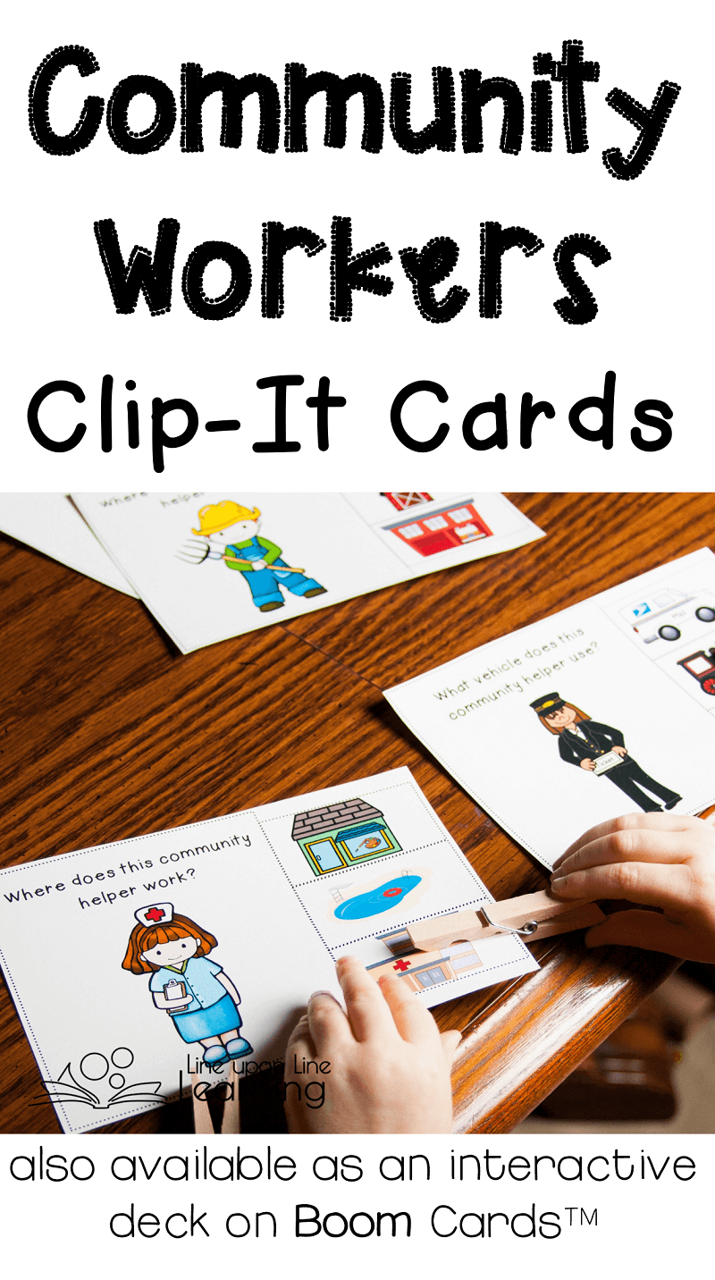 Match the community worker to the place of work or the vehicle, either with a hands-on fine motor activity or at Boom Cards, where the matching is digital.