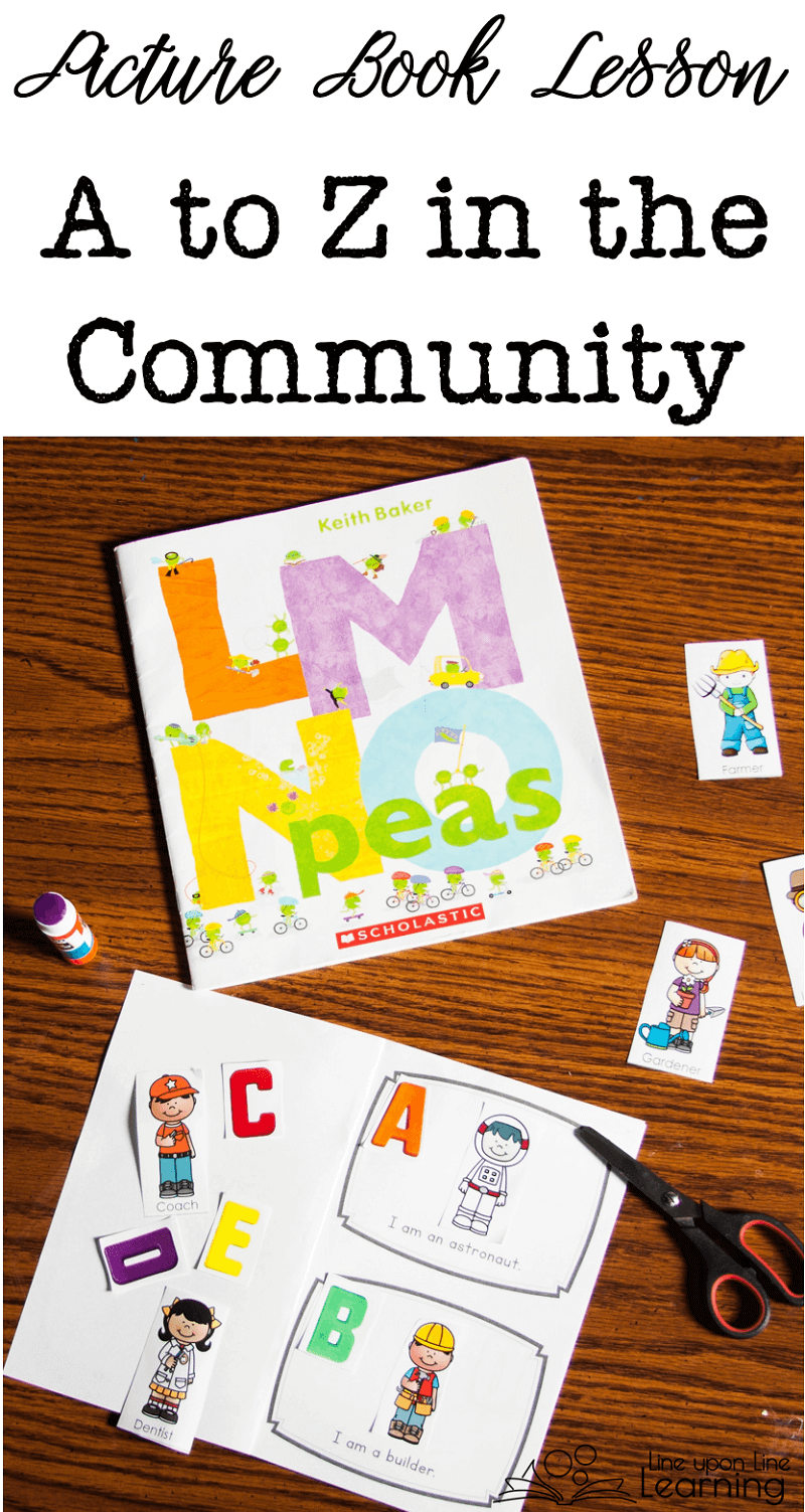 We learned about an alphabet of people in our community by using LMNO Peas as the springboard for our own A to Z book of people.