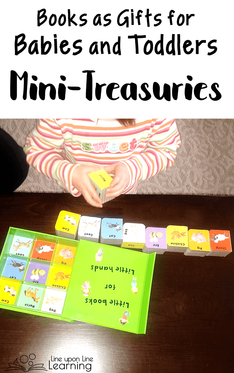 The Mini-Treasuries are great books to use as gifts for babies and toddlers. They are chunky like blocks and fit in the book box like pieces of a puzzle! Fun and educational to read and play with.