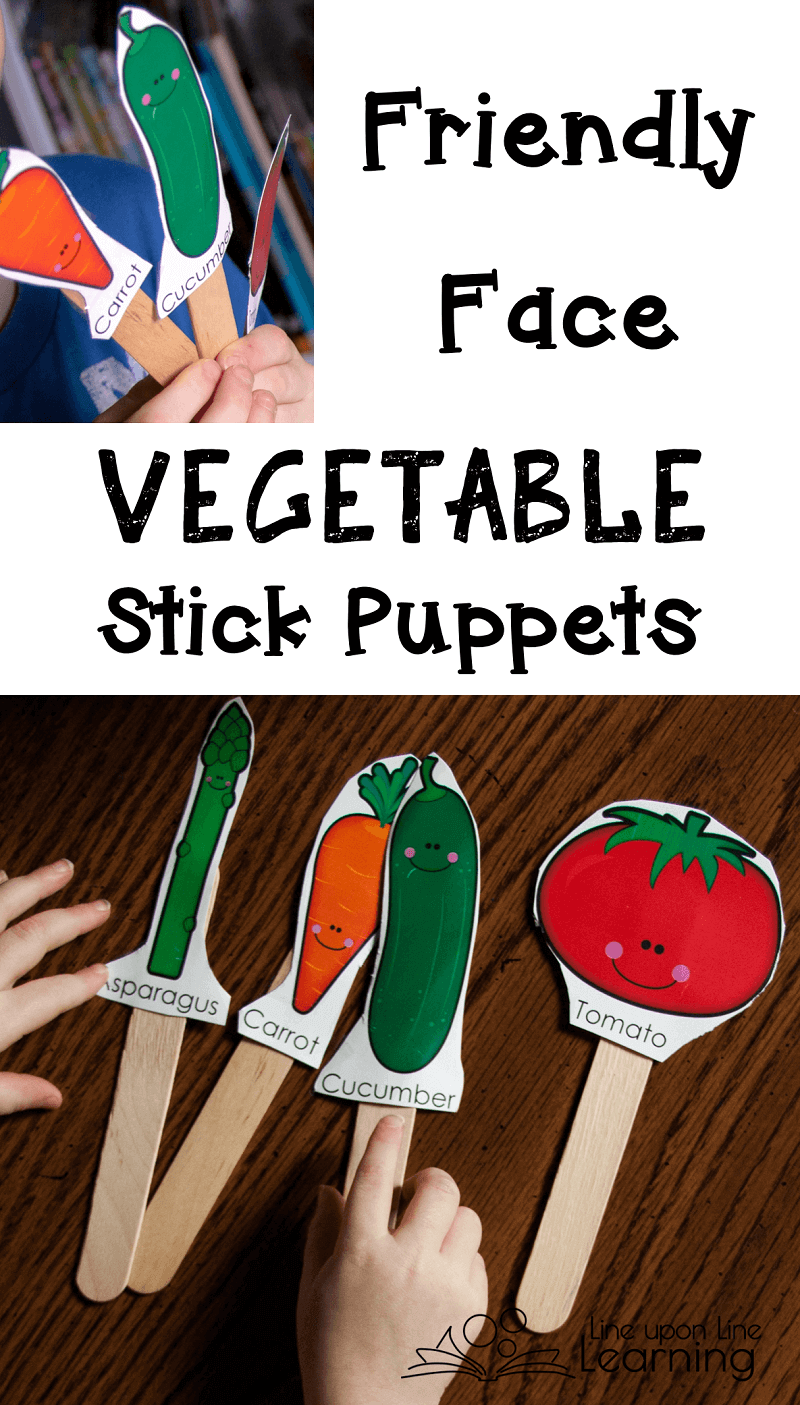 We use these labeled vegetables as stick puppets. No they are not exactly like VeggieTales friends, but now we can learn about the real names of vegetables but still have fun.