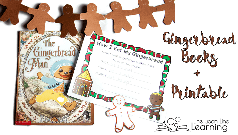 Here is a delicious long list of gingerbread books. How do you eat your gingerbread man cookie? See the free printable with this post.