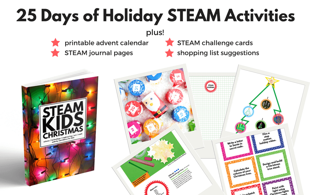 STEAM Kids Christmas has 25 days of super fun STEAM experiments and projects, with gorgeous to look at pages, just like it's parent book.